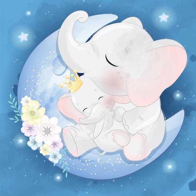 Милый слоненок мама и малыш Premium векторы