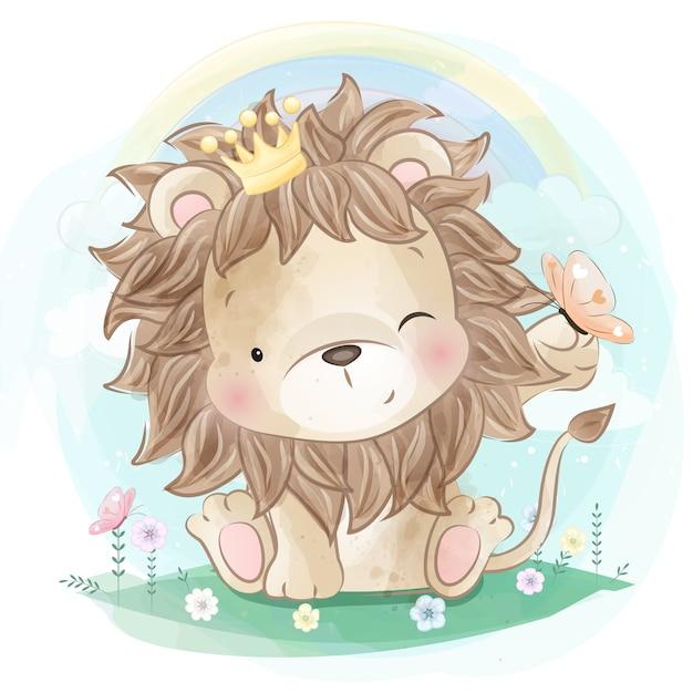 蝶と遊ぶかわいいライオン Premiumベクター