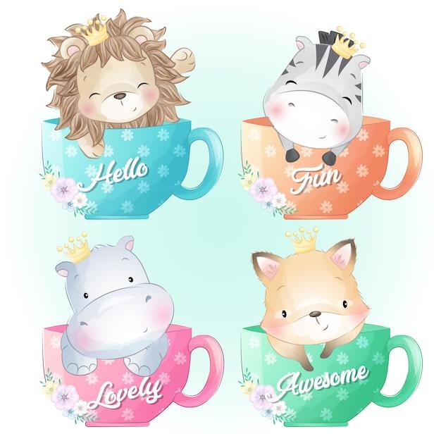 かわいいライオン、シマウマ、カバ、フォクシーはコーヒーカップの中に座っています。 Premiumベクター