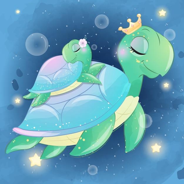 Милая морская черепаха мама и малыш Premium векторы