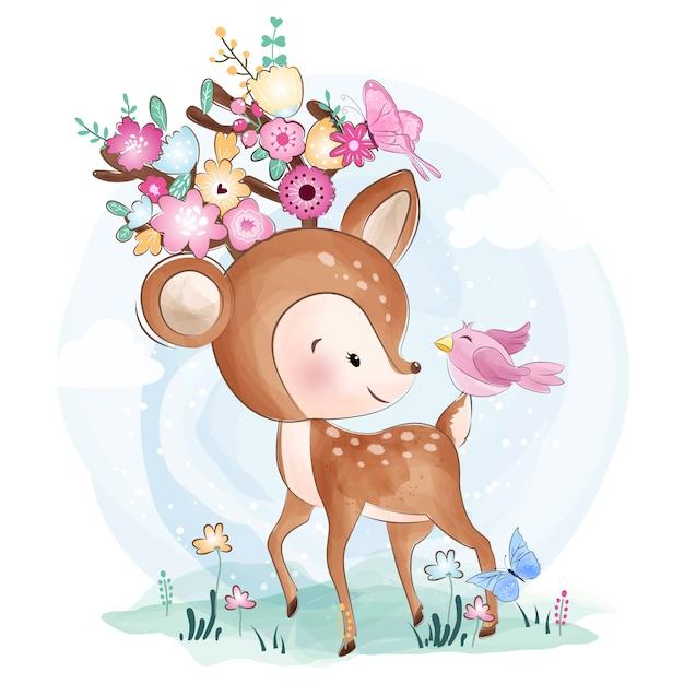 花とかわいい小さな鹿 Premiumベクター