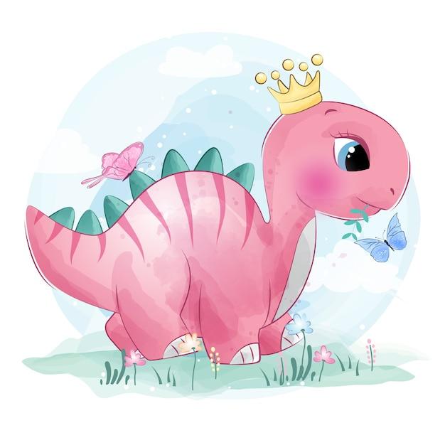 Милый маленький динозавр играет с бабочками Premium векторы