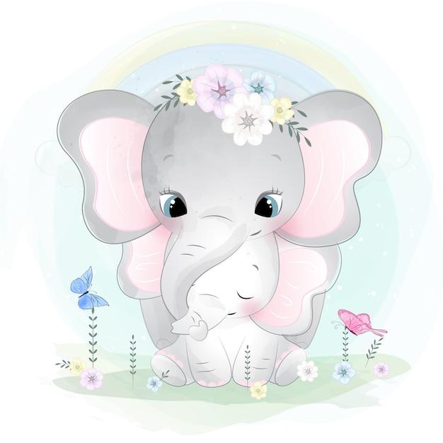 かわいい象の母親と赤ちゃん Premiumベクター