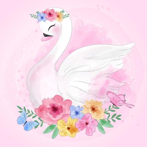 花とかわいい白鳥 Premiumベクター