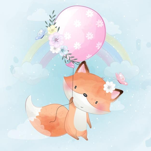Милая маленькая лиса летать с воздушным шаром Premium векторы