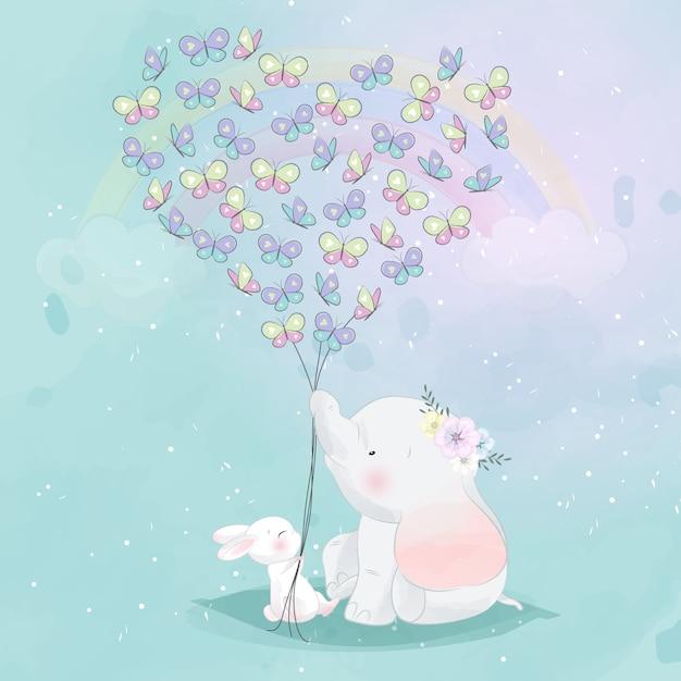 Милый слоненок и зайчик с бабочкой в форме любви Premium векторы