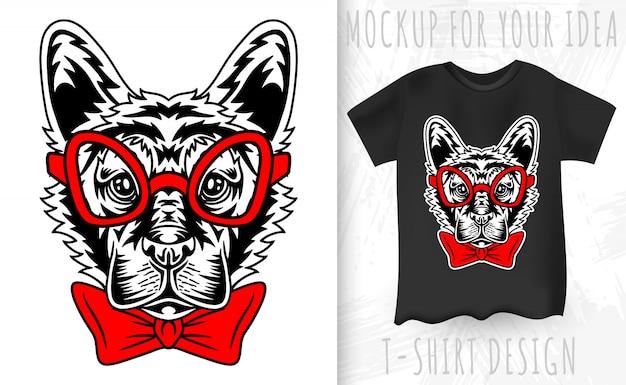 Немецкая овчарка щенок лицо в стиле ретро. идея дизайна футболки с принтом в винтажном стиле. Premium векторы