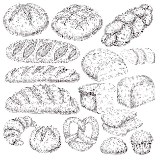 Хлебобулочные изделия ручной розыгрыша. Premium векторы