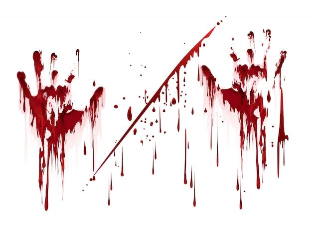 血の滴で血まみれのハンドプリント Premiumベクター