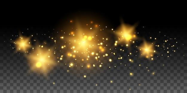 Золотые светящиеся звезды и эффекты Premium векторы