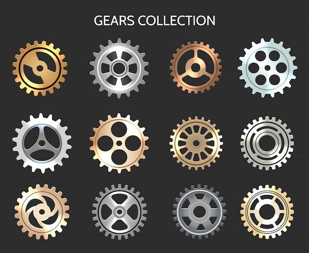 金属歯車または時計歯車のアイコンを設定 Premiumベクター