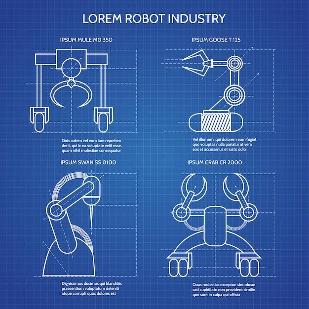 ロボットアームの青写真 Premiumベクター