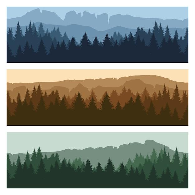 屋外の山の風景のバナー Premiumベクター