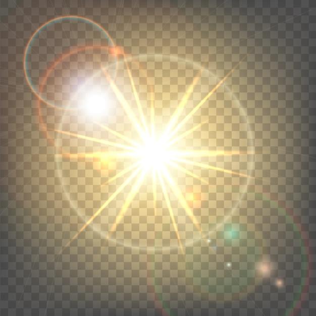 Жаркое солнце с бликовой линзой Premium векторы