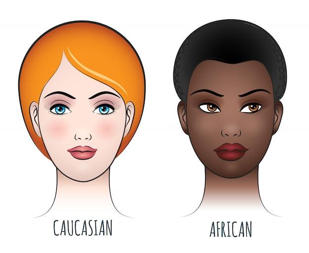 Африканские и кавказские женские лица Premium векторы