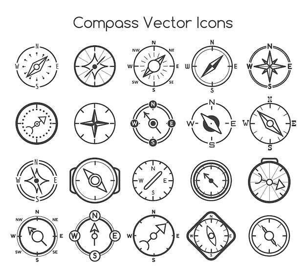 Значки линии компаса Premium векторы