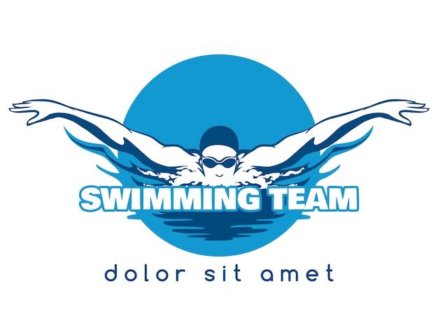水泳チームのベクトルのロゴ Premiumベクター