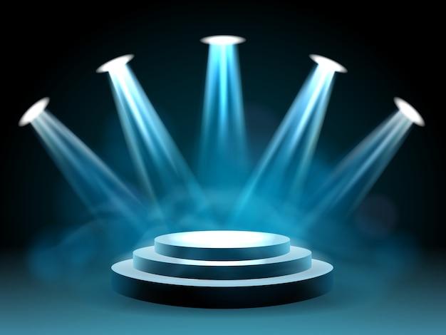 パフォーマンスのためのハリウッド照明ステージ Premiumベクター