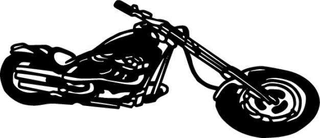 長いバイクモノクロアイコンベクトル 無料ベクター