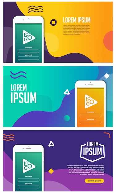 携帯アプリプロモーションバナーベクトル Premiumベクター