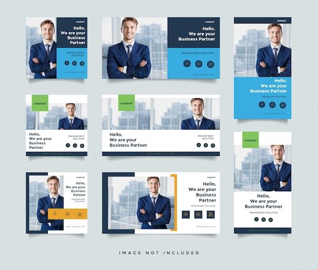 ビジネスソーシャルメディアポストデザインテンプレート Premiumベクター