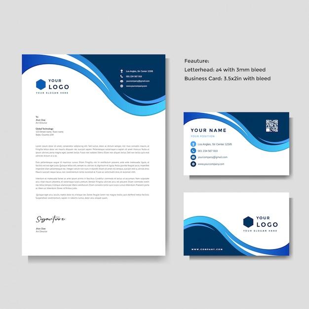 Профессиональный креативный бланк и шаблон визитной карточки Premium векторы