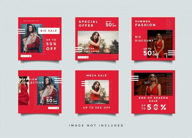 赤いファッションソーシャルメディアバナーデザインレイアウト Premiumベクター