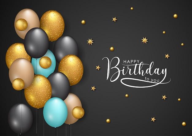お誕生日おめでとうベクトルイラスト - ゴールデンスターと色の風船 Premiumベクター