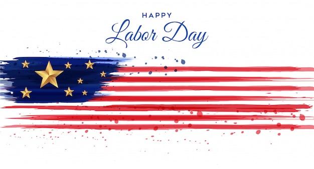 ブラシの水彩画とアメリカの労働者の日ポスター Premiumベクター