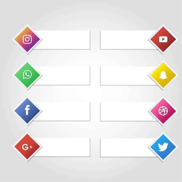 ソーシャルメディアアイコンバナーコレクションのベクトルの背景 Premiumベクター