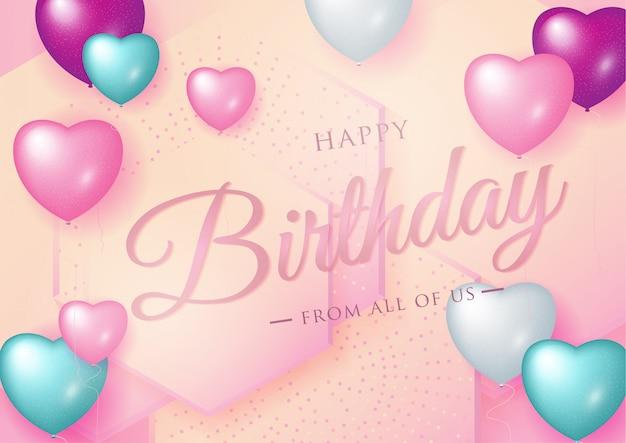 グリーティングカードの誕生日おめでとうお祝いタイポグラフィデザイン Premiumベクター