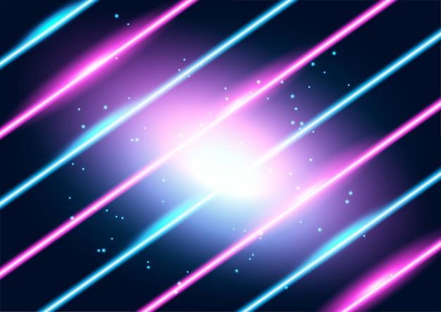 ネオン輝くテクノライン、ハイテクの未来的な抽象的な背景 Premiumベクター