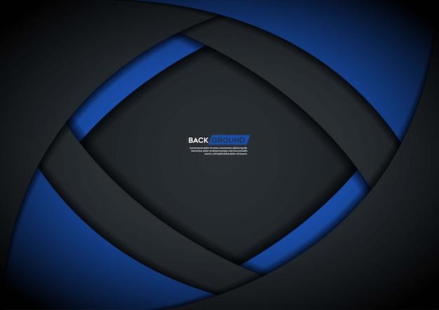 青い形状の暗い背景のオーバーラップレイヤー Premiumベクター