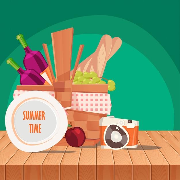 Корзина для пикника на столе и весенний пейзаж Premium векторы