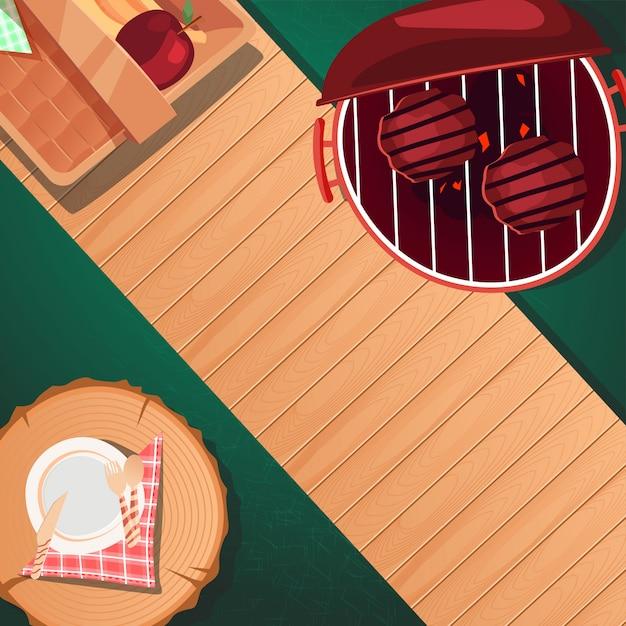 Вид сверху на дизайн летнего пикника Premium векторы