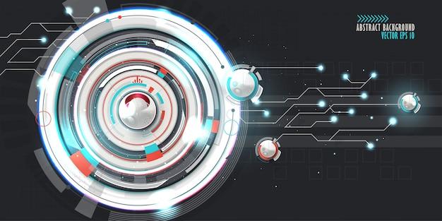 様々な技術要素と抽象的な技術的背景。 Premiumベクター
