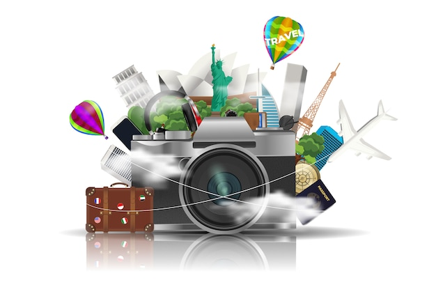 世界を旅する、要素を持つカメラ Premiumベクター