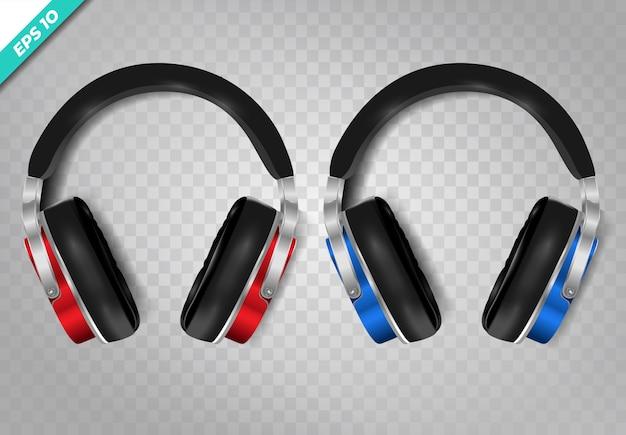 現実的なワイヤレスヘッドフォンは透明な背景に設定します。 Premiumベクター