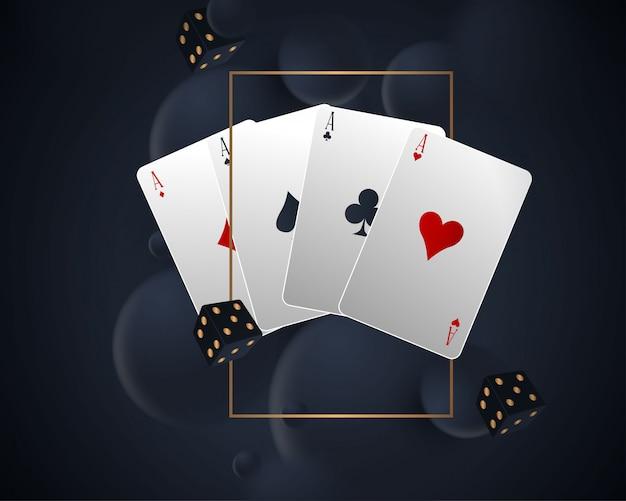 Баннер с четырьмя тузами и несколькими игральными картами на обратной стороне Premium векторы