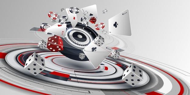 Элементы карты казино покер и рулетки Premium векторы