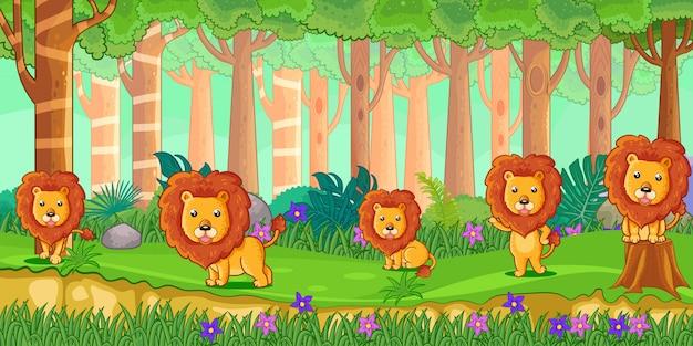 Векторная иллюстрация мультяшный львов в джунглях Premium векторы