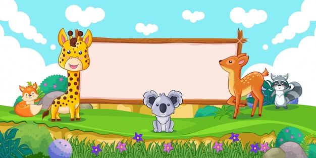 Милые животные с пустым знаком дерева Premium векторы