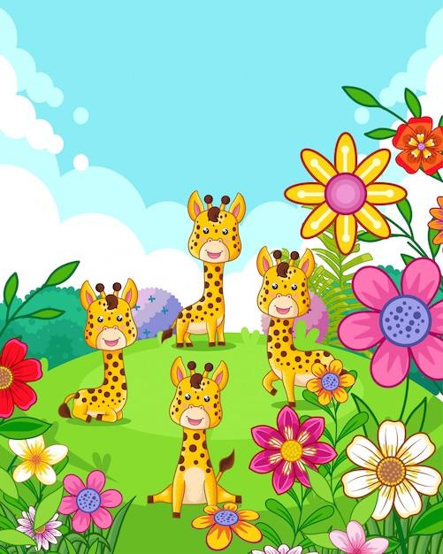 Счастливые милые жирафы с цветами играют в саду Premium векторы