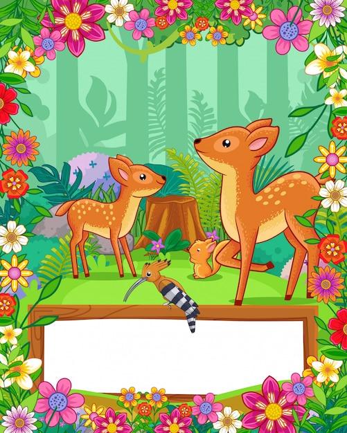 Милые олени с цветками и деревянный пустой знак в лесе. вектор Premium векторы