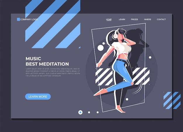 ランディングページテンプレート音楽の最高の瞑想 Premiumベクター