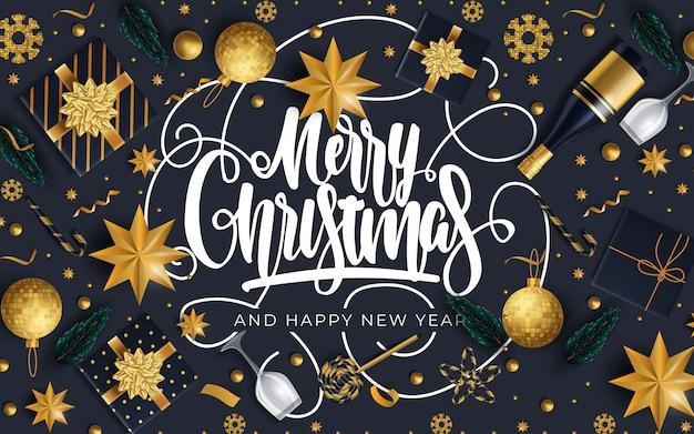 メリークリスマスと幸せな新年のグリーティングカード Premiumベクター