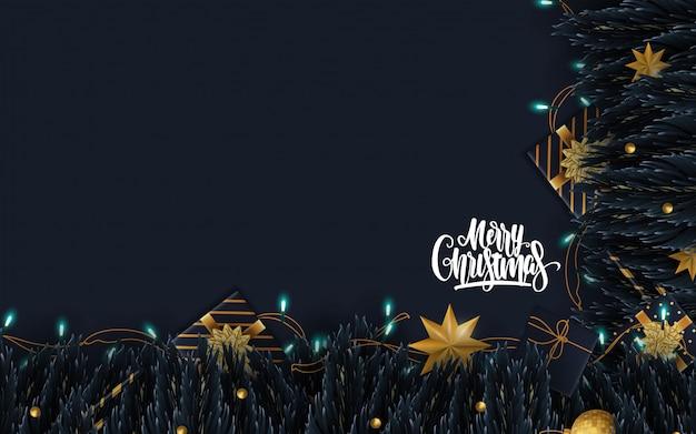 メリークリスマスのグリーティングカードの背景 Premiumベクター