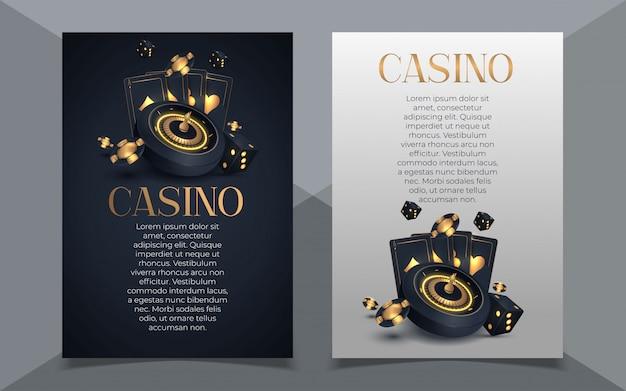 Покер казино баннер с карты и фишки. Premium векторы