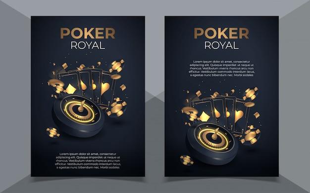 Покер фишки и карты фон. покер казино шаблон постера. флаер дизайн макета. Premium векторы