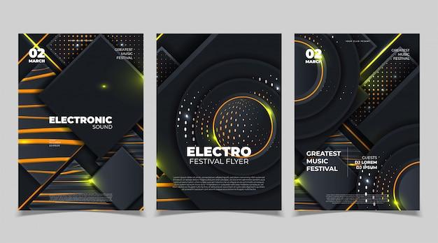 Электронный музыкальный фестиваль плакат макет. флаер фестиваля электронной музыки. векторная иллюстрация Premium векторы